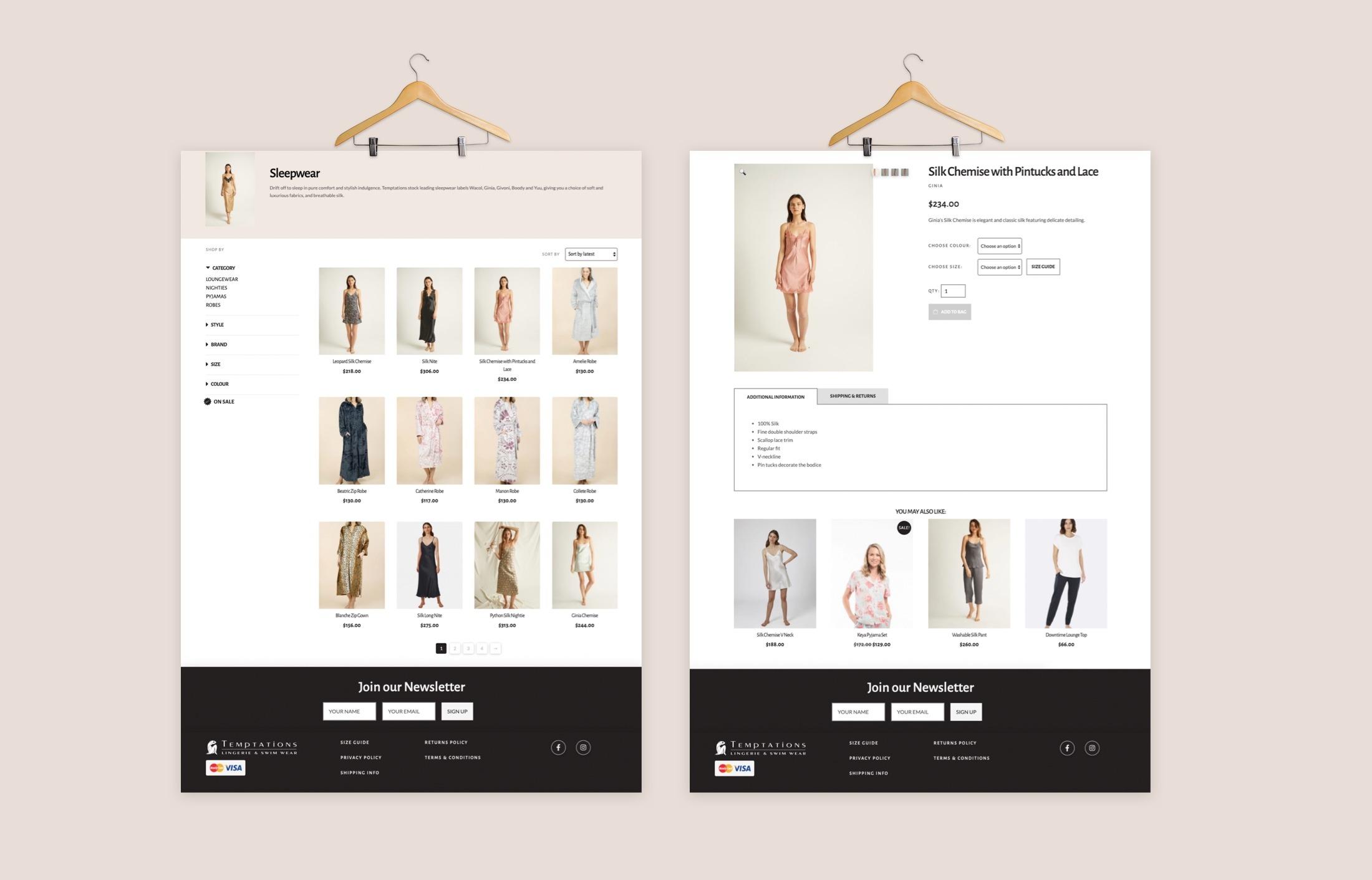 e-commerce website - Temptations Lingerie