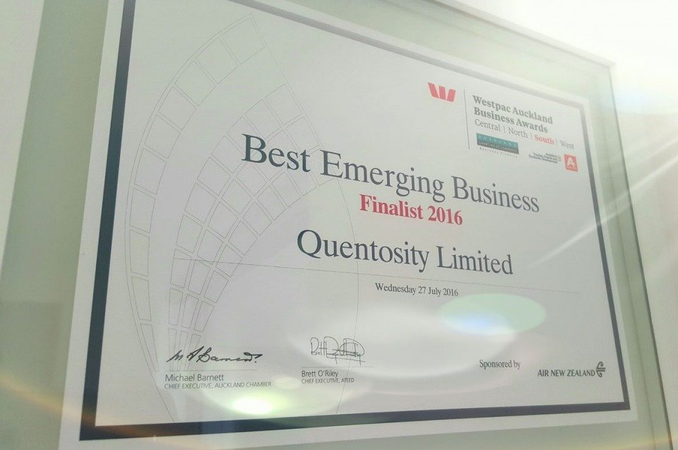 Quentosity's Success At The Westpac Awards Sponsored By AIR New Zealand