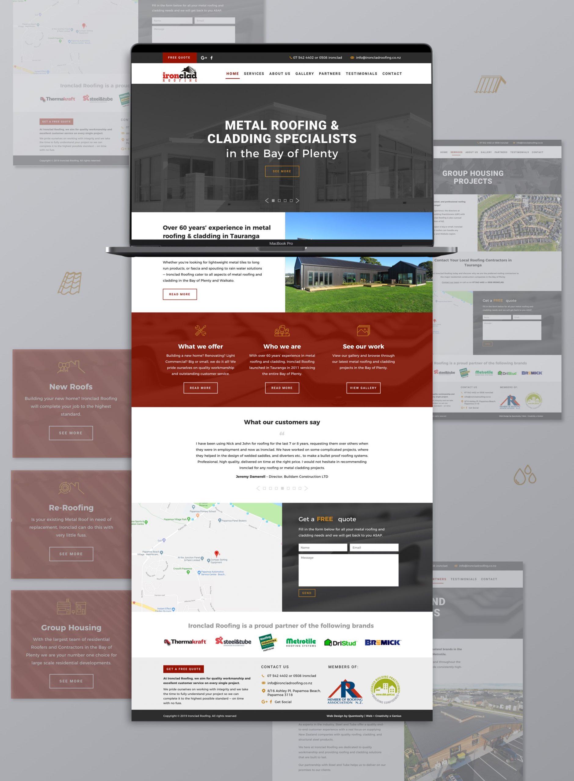 Website development - Ironc;lad Roofing